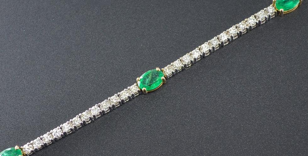 Emeralds and Diamonds White Gold Bracelet