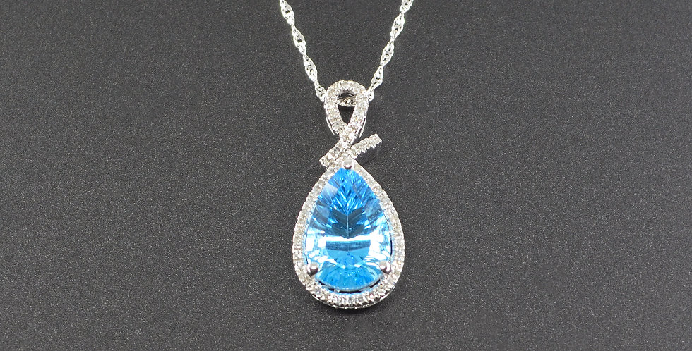 Blue Topaz and White Diamonds Pear-shaped White Gold Pendant