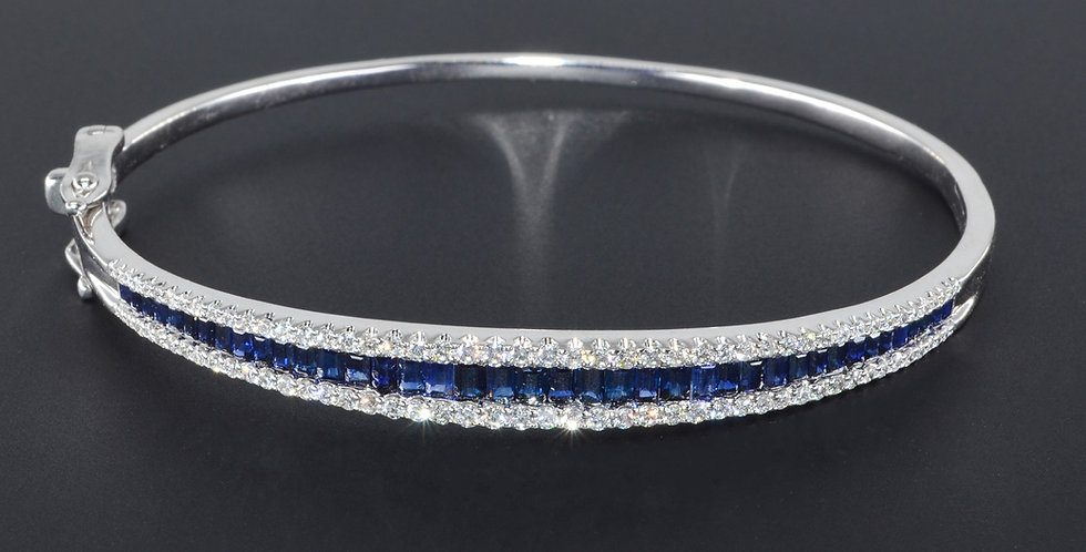 Sapphires and Diamond White Gold Bangle (Sold Out; We Can Order!)