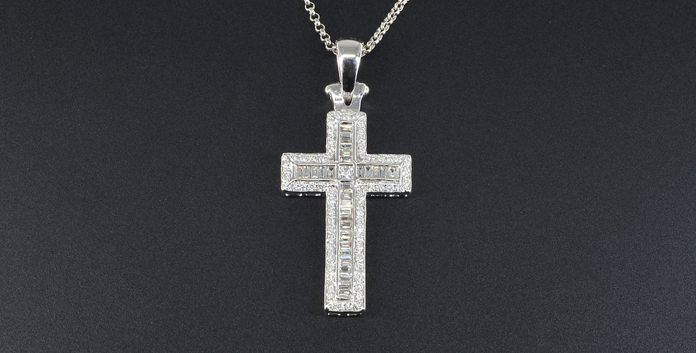 Baguette and Round Diamonds Cross White Gold Pendant