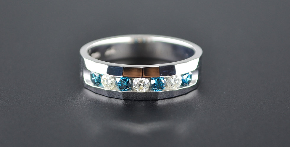 Blue and White Diamond Men's White Gold Ring
