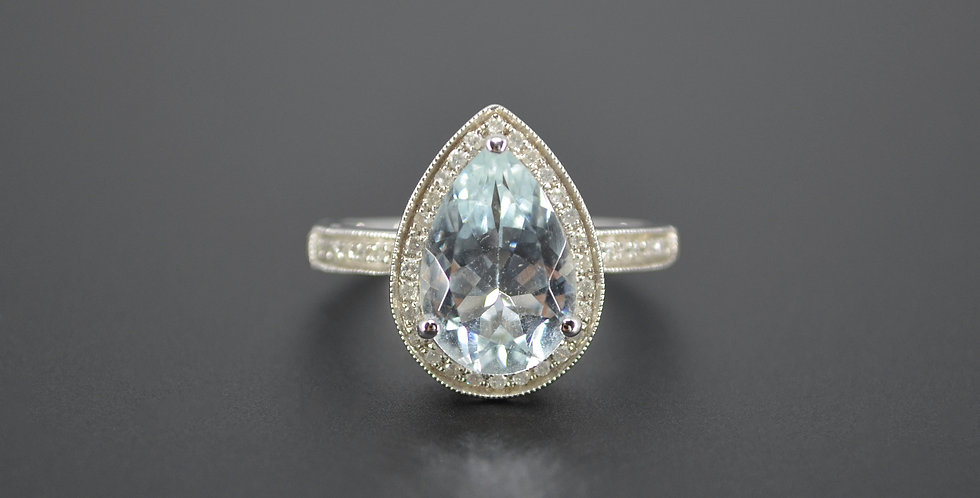 Pear Shaped Aquamarine & Diamond Ring