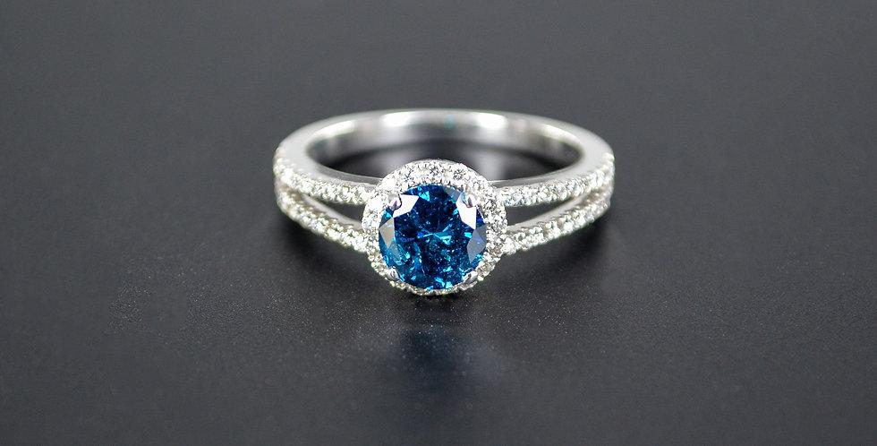 Blue Diamond and White Diamonds Split Shank White Gold Ring