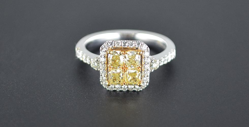 Square Yellow Diamonds and White Diamonds White Gold Ring