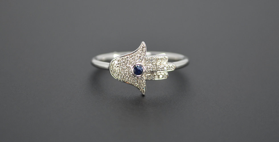 Hamsa (Hand of God) Blue Sapphire & Diamond Ring