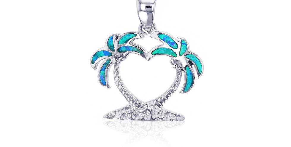 Opal Palm Tree Love Pendant