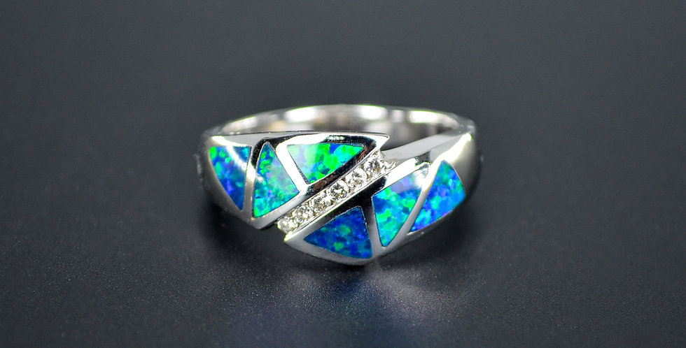 Opal and Diamonds White Gold Ring