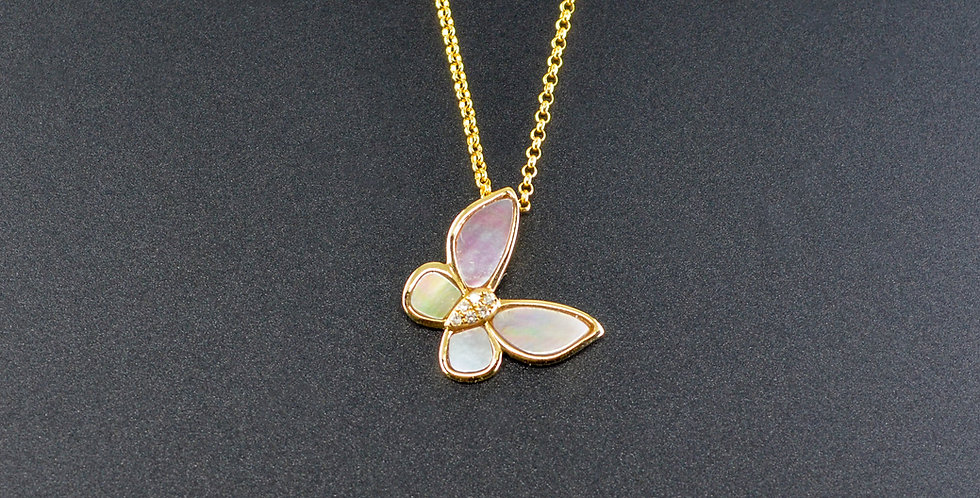 Butterfly Diamonds Yellow Gold Pendant (Necklace Included)