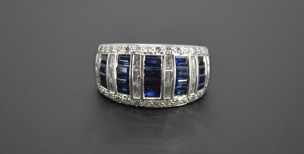 5-Row Sapphire & Diamond Ring