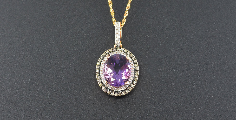Amethyst and Diamond Oval Pendant (Necklace Included)