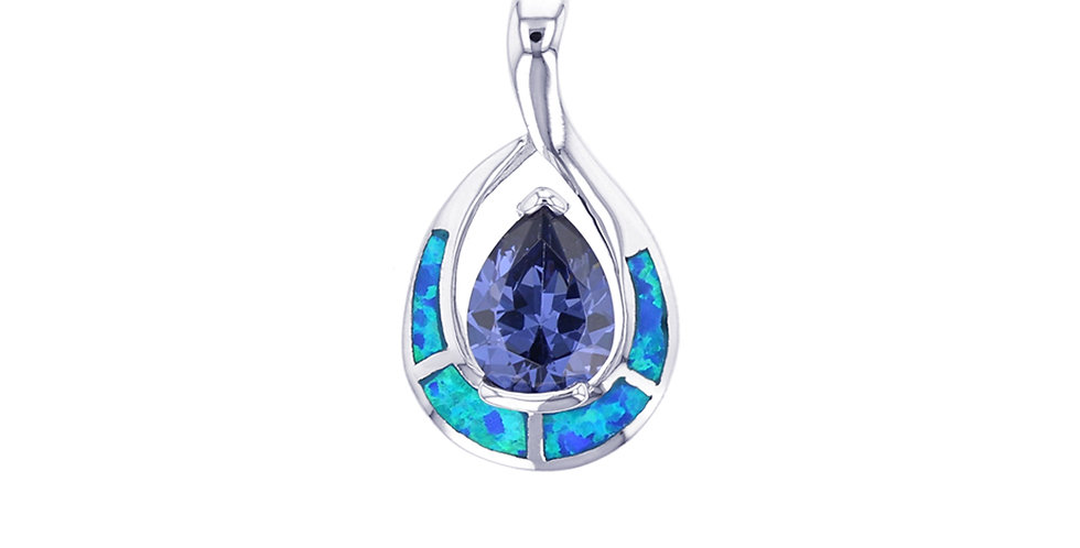 Simulated Pear Shaped Tanzanite & Opal Pendant