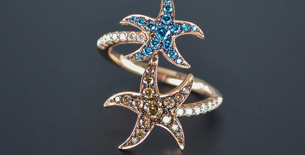 Tricolor Diamond Double Starfish Ring