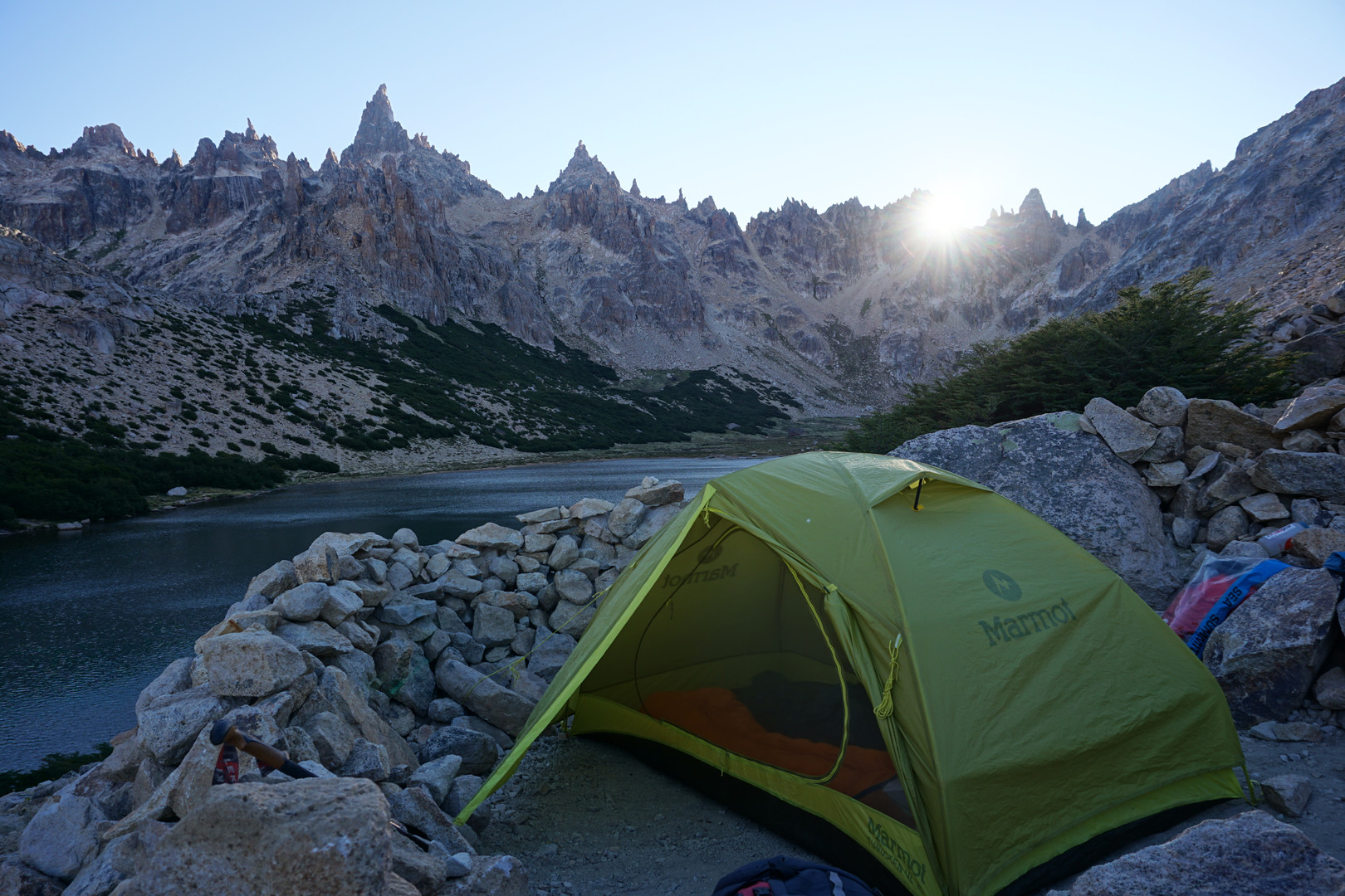 The tenting options beside the Refugio