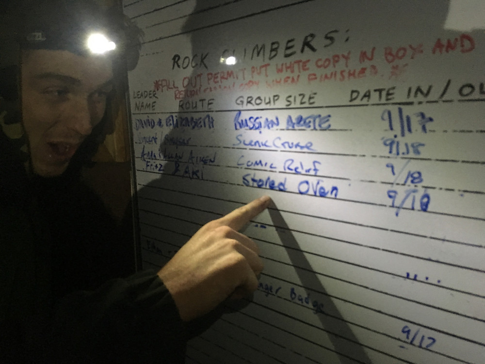 The registration board at the ranger station