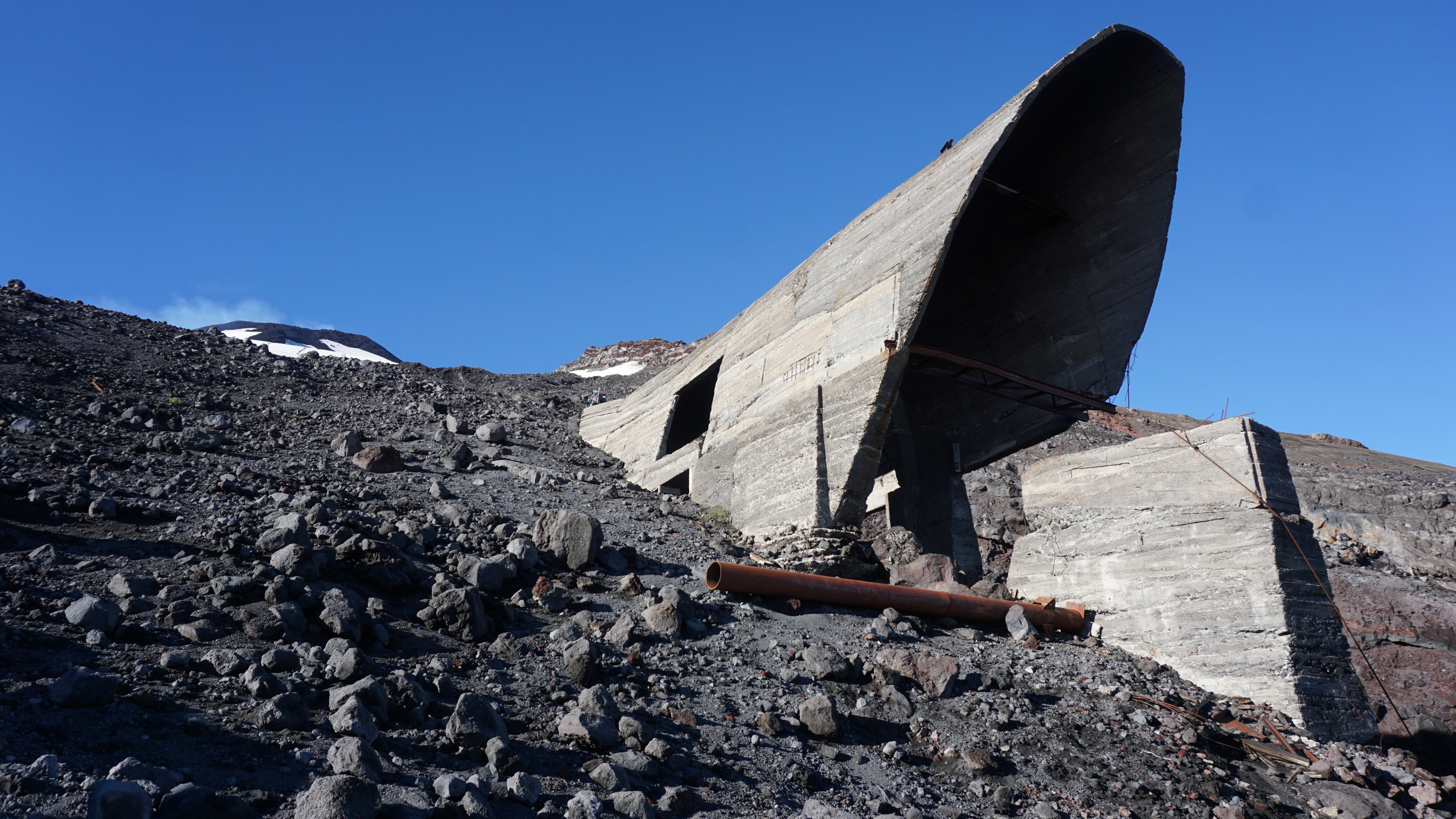 An abandoned lift terminal from an eruption some years ago