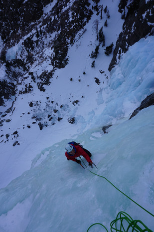 Looking down the headwall of Cali Ice