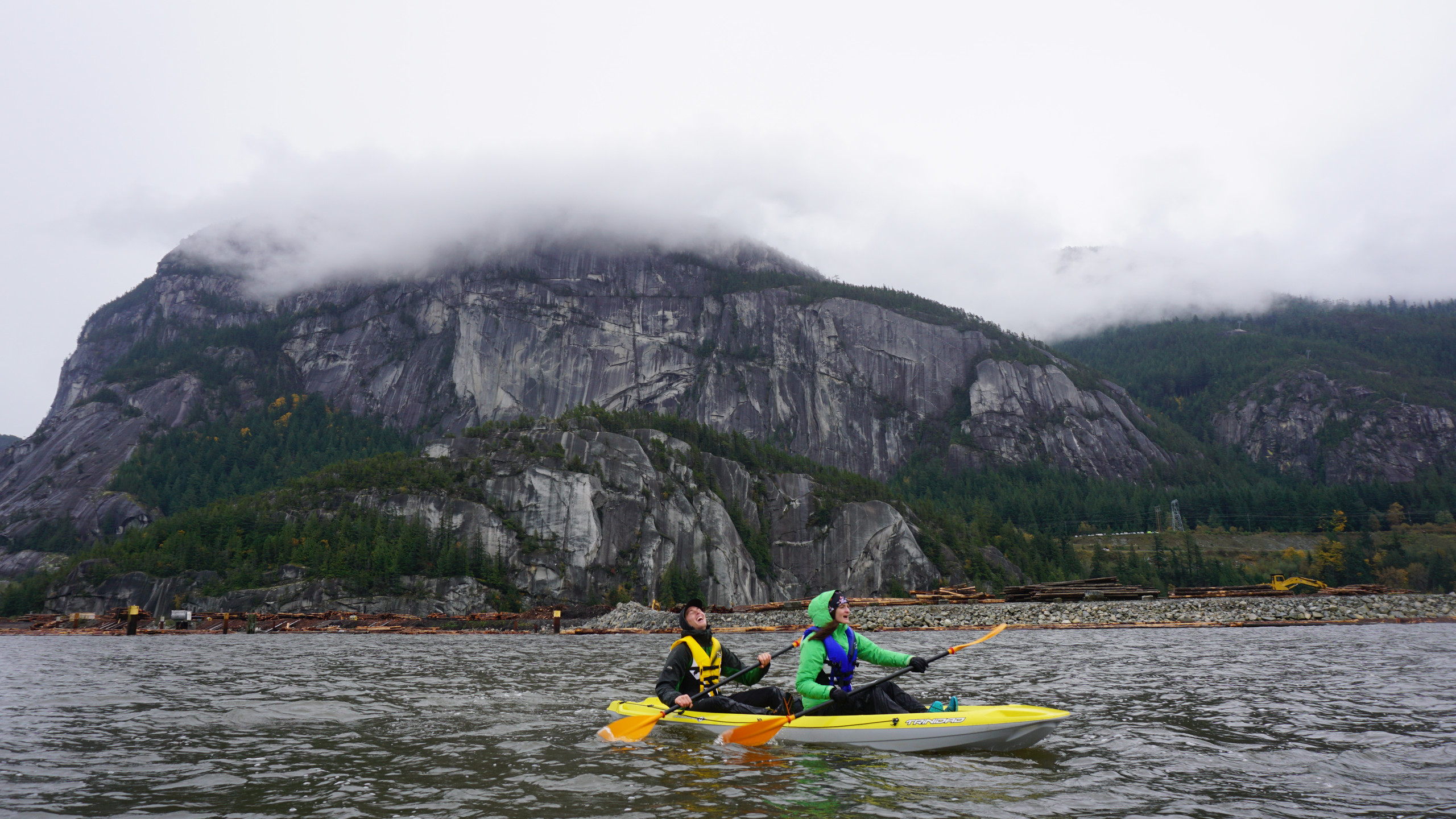 Rainy Kayaking with Fritz and Caitlyn. They climbed exactly 0 meters of Squamish rock on their 5 day visit.