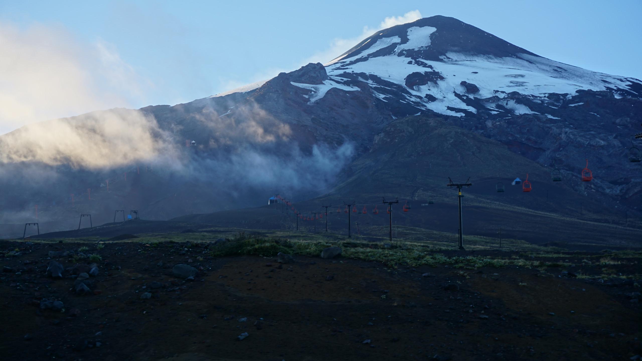 A view of Volcan Villarrica from below the ski resort