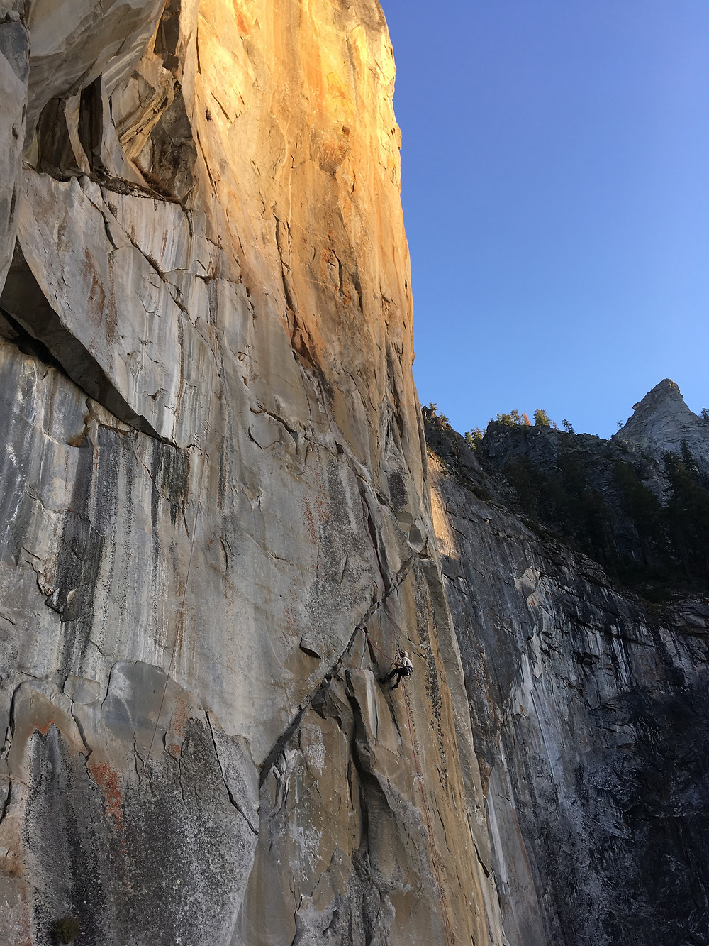 Ryan cleaning above Ahwahnee Ledge