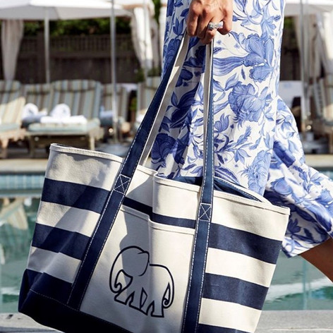 Printed Canvas Tote with Front Pocket