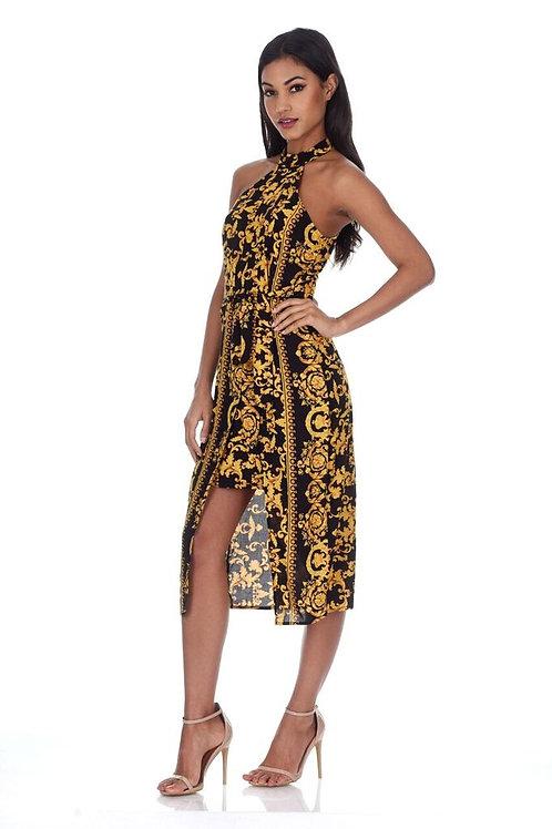 AX Paris Black and Gold Dress