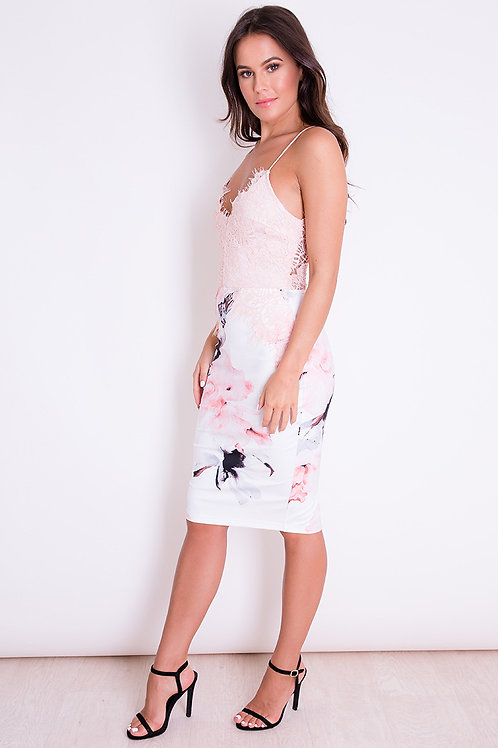 Girl in Mind Lace Floral Dress