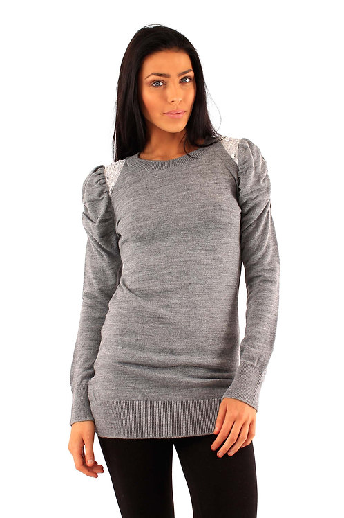 Grey Embellished Shoulder Jumper