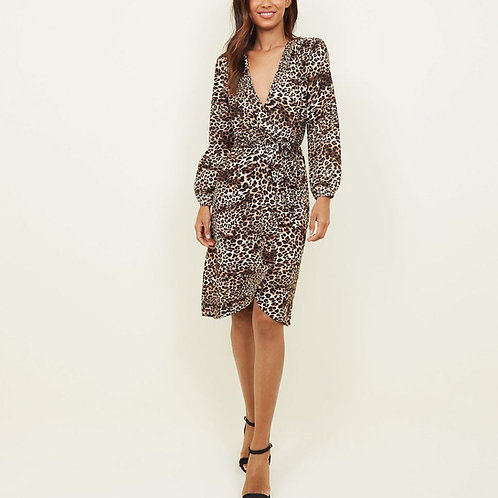 AX Paris Brown Leopard Print Wrap Dress