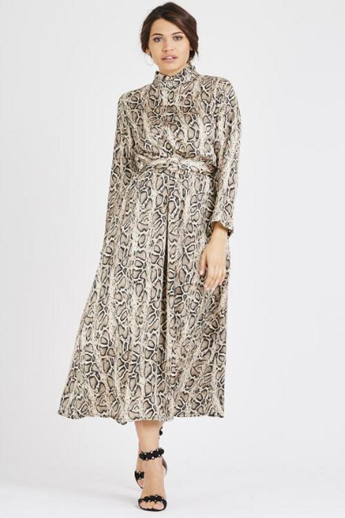 Ruffle Neck Snake Print Dress