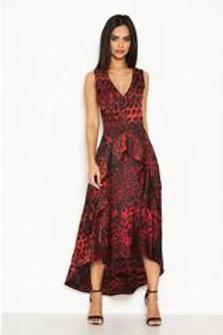 AX Paris Red V Neck Animal Print Dress