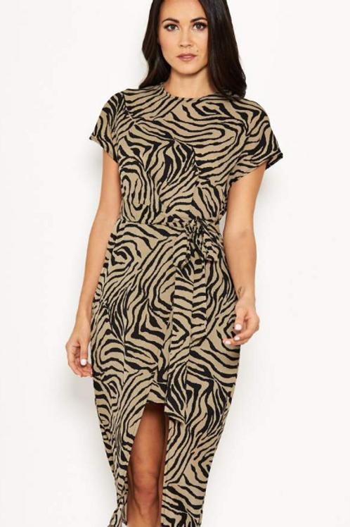 AX Paris Khaki Animal Print Dress