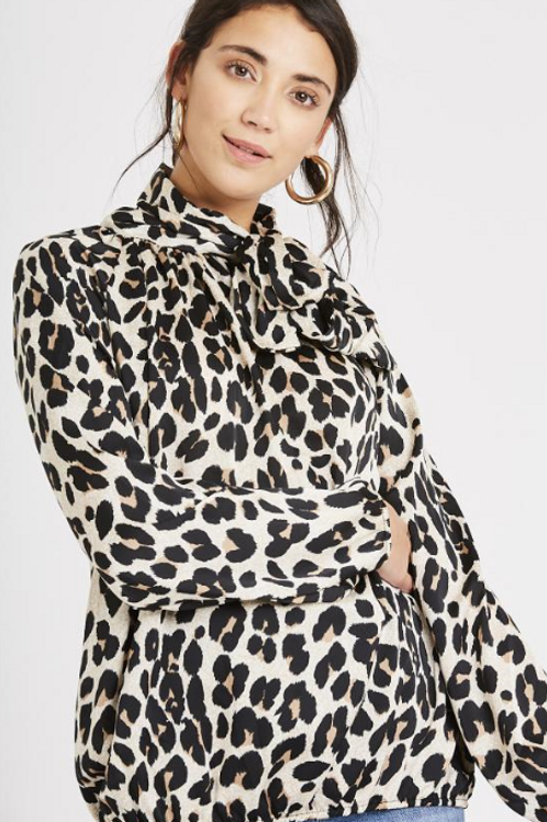 Leopard Pussy Bow Blouse