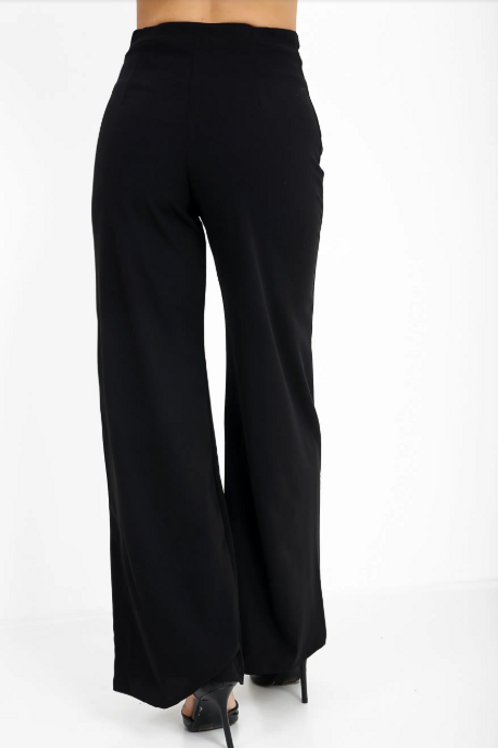Black High Waisted Flare Trousers