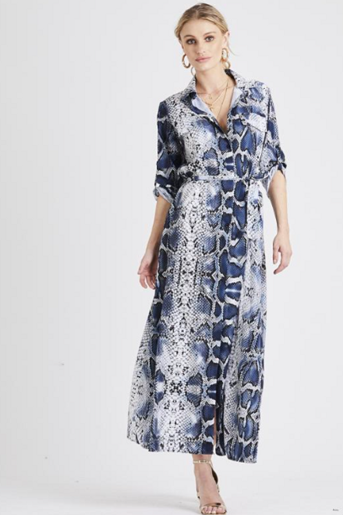 Snake Print Shirt Maxi Dress