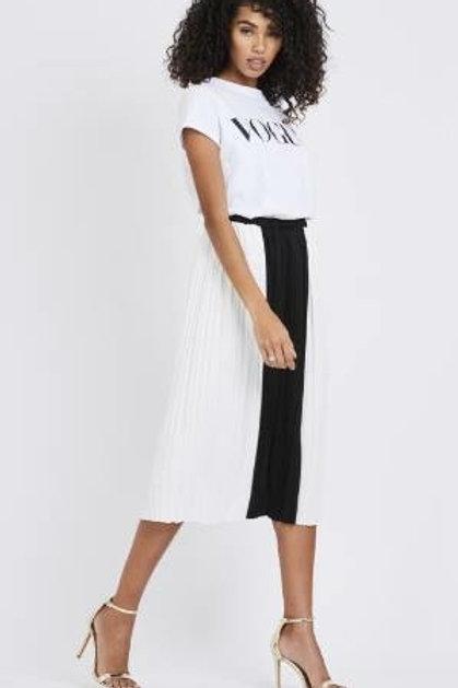 Panel Pleated Midi Skirt
