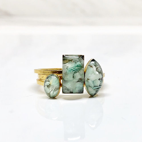 Amazonite Trio rings