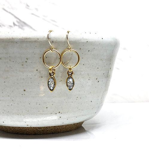 Mini Navette Earrings - Mother of Pearl