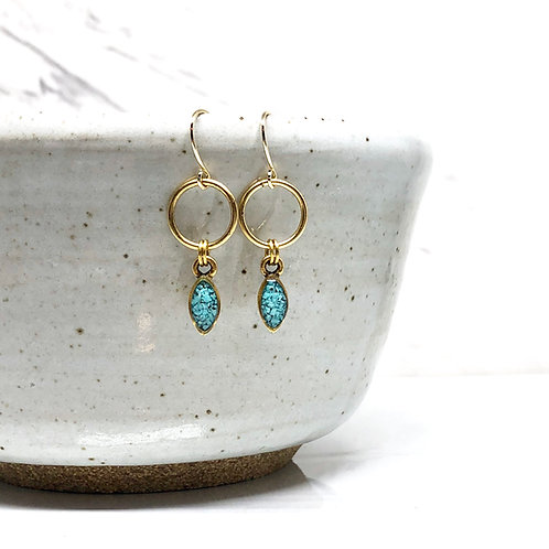Mini Navette Earrings - Torquoise