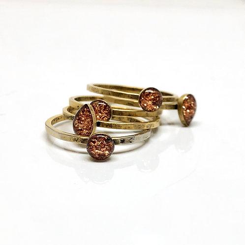 Sparkle Orange thin stacking ring
