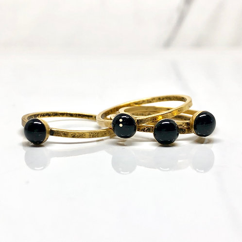 Black thin stacking ring