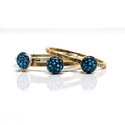 Micro Beads thin Blue Ring