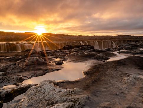 Sunset over Selfoss Waterfall