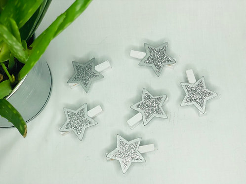 Christmas Wooden Silver Star Pegs