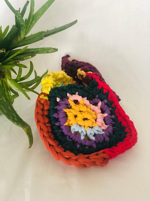 Hand made recycled crochet shoulder Bag