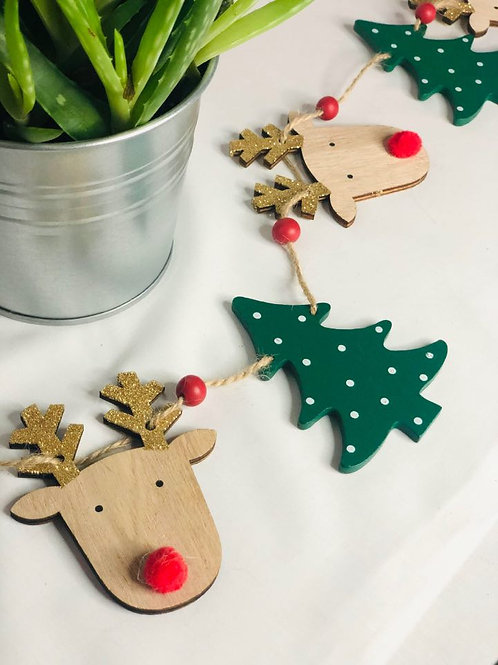 Wooden Reindeer and Christmas Tree Bunting