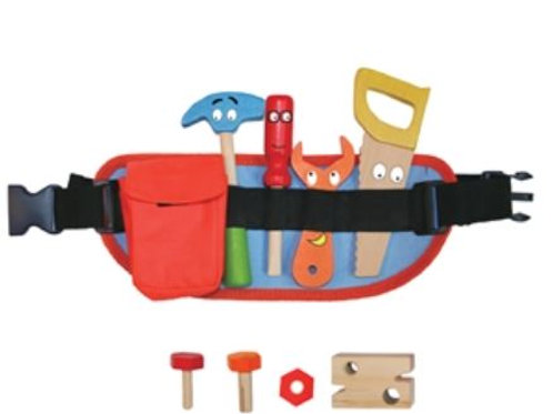 Childrens Toy Tool Belt with Wooden Accessories