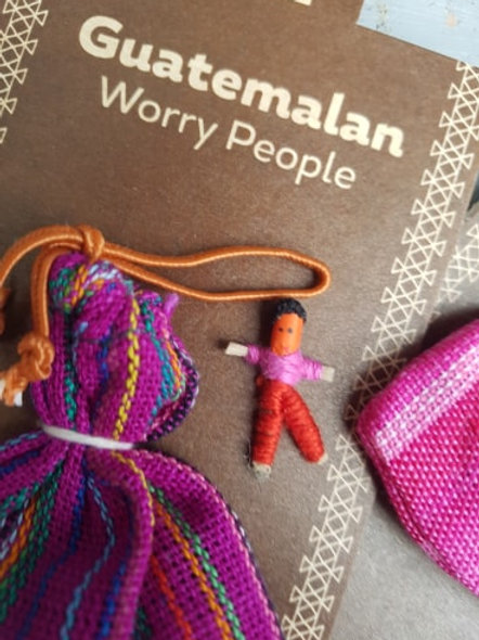 Worry dolls x 6 small in bag on card