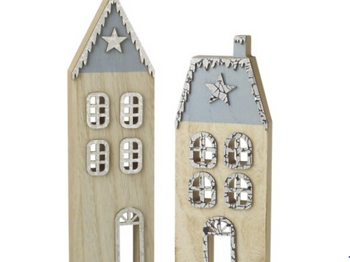 Blue Wooden Christmas Houses