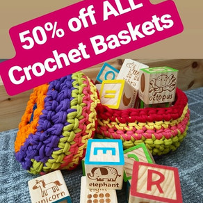 50% off our Crochet Baskets!!!!