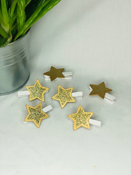 Christmas Wooden Gold Star Pegs